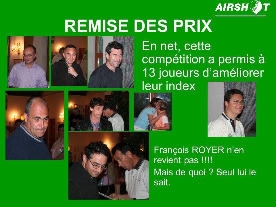 REMISE DES PRIX En net, cette compétition a permis à 13 joueurs daméliorer leur index François ROYER nen revient pas !!!! Mais de quoi ? Seul lui le s