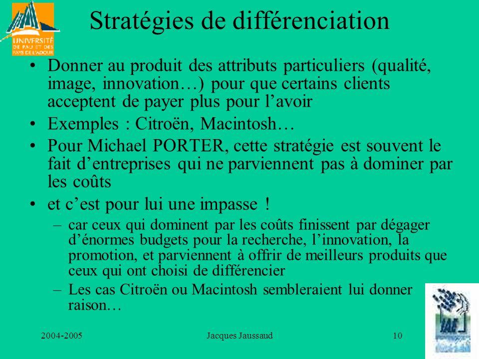 2004-2005Jacques Jaussaud10 Stratégies de différenciation Donner au produit des attributs particuliers (qualité, image, innovation…) pour que certains