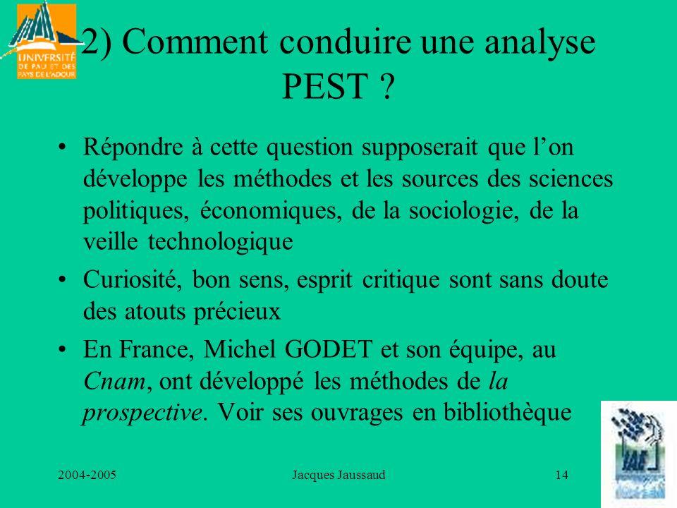 2004-2005Jacques Jaussaud14 2) Comment conduire une analyse PEST ? Répondre à cette question supposerait que lon développe les méthodes et les sources