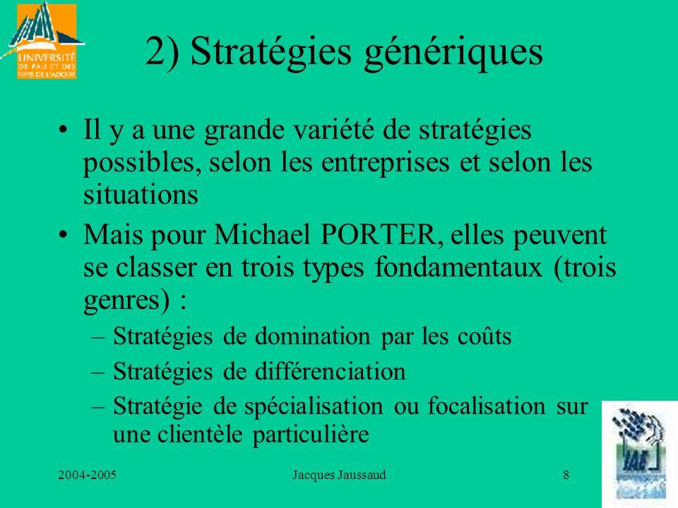 2004-2005Jacques Jaussaud8 2) Stratégies génériques Il y a une grande variété de stratégies possibles, selon les entreprises et selon les situations M