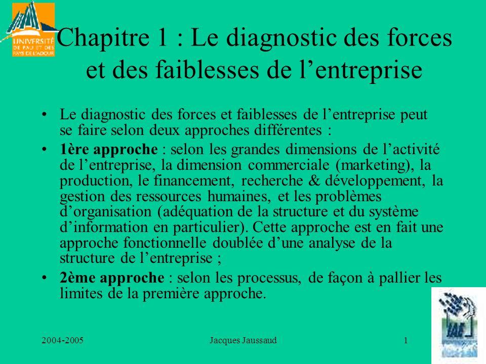 2004-2005Jacques Jaussaud32 4) Le diagnostic technologique La notion de technologie est plus large que celle de technique, et implique une réflexion, une combinaison pensée, maîtrisée, améliorée à laide des apports de la science.