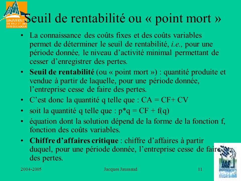 2004-2005Jacques Jaussaud11 Seuil de rentabilité ou « point mort » La connaissance des coûts fixes et des coûts variables permet de déterminer le seui