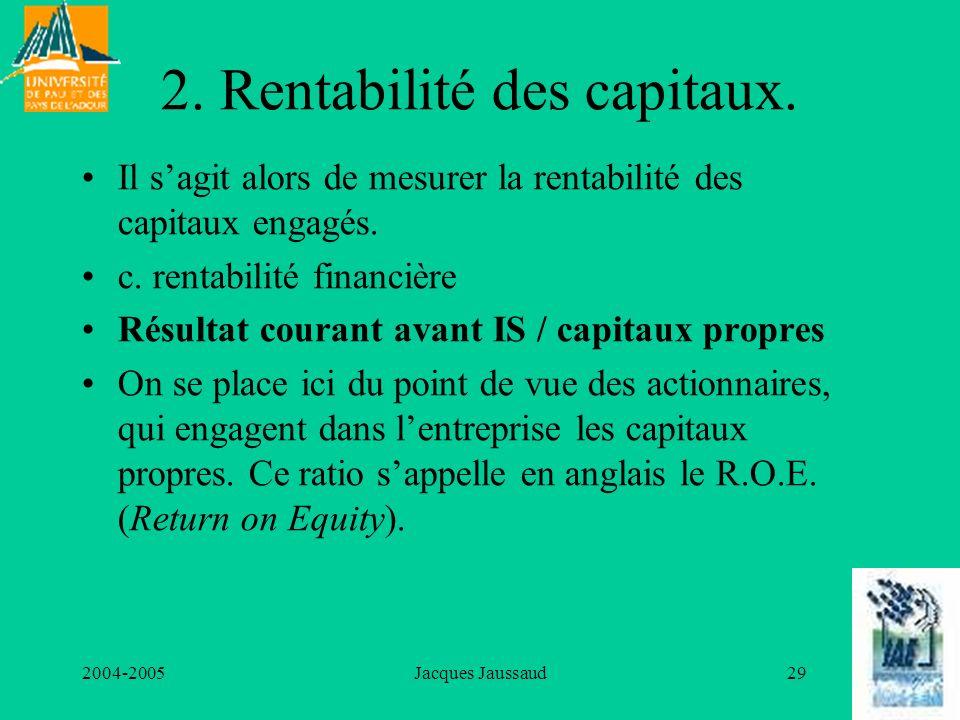 2004-2005Jacques Jaussaud29 2. Rentabilité des capitaux. Il sagit alors de mesurer la rentabilité des capitaux engagés. c. rentabilité financière Résu