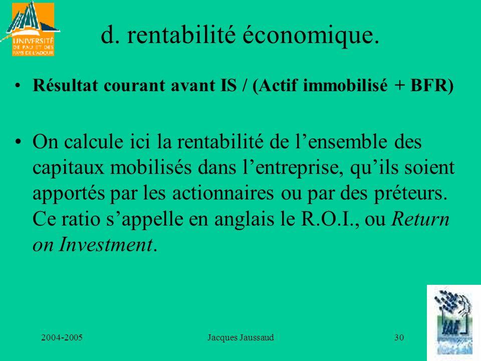 2004-2005Jacques Jaussaud30 d. rentabilité économique. Résultat courant avant IS / (Actif immobilisé + BFR) On calcule ici la rentabilité de lensemble