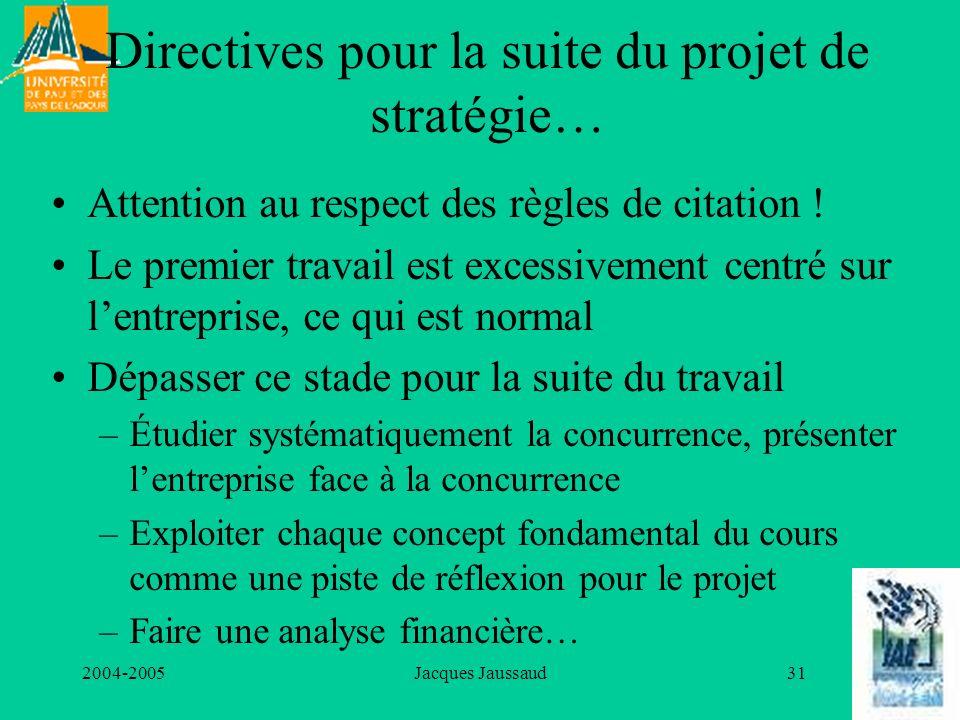 2004-2005Jacques Jaussaud31 Directives pour la suite du projet de stratégie… Attention au respect des règles de citation ! Le premier travail est exce