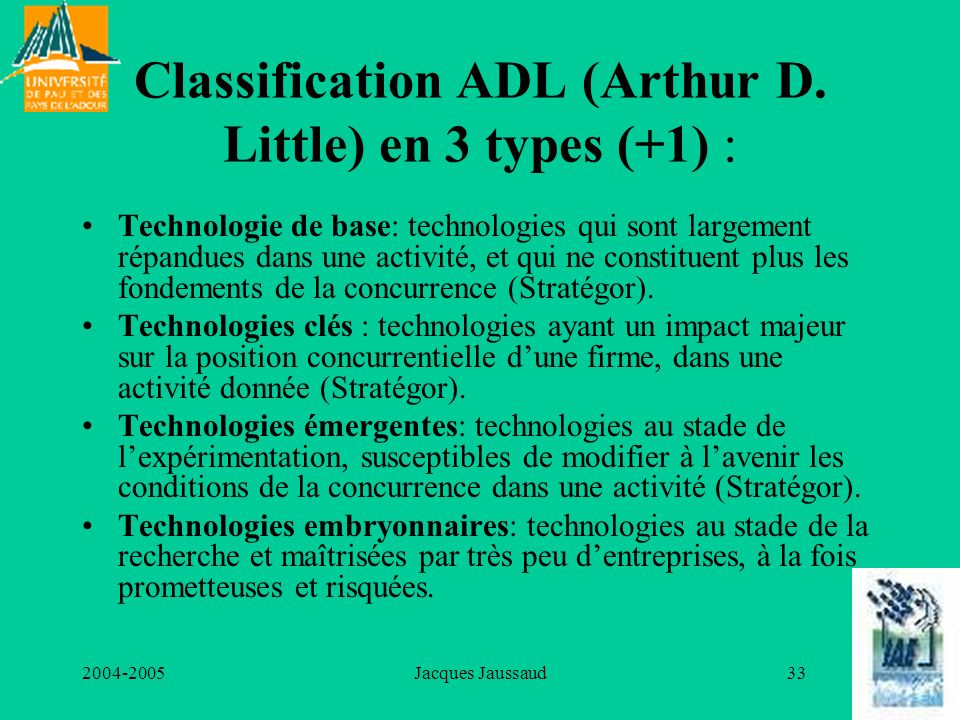 2004-2005Jacques Jaussaud33 Classification ADL (Arthur D. Little) en 3 types (+1) : Technologie de base: technologies qui sont largement répandues dan