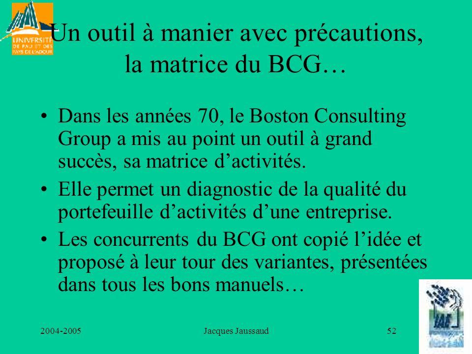 2004-2005Jacques Jaussaud52 Un outil à manier avec précautions, la matrice du BCG… Dans les années 70, le Boston Consulting Group a mis au point un ou