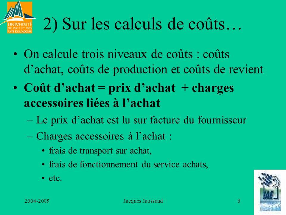 2004-2005Jacques Jaussaud7 Coût de production Coût de production = coût dachat des matières et composants utilisés + charges de production Charges de production : –dotation aux amortissements des équipements, –salaires de production, –énergie, –etc.