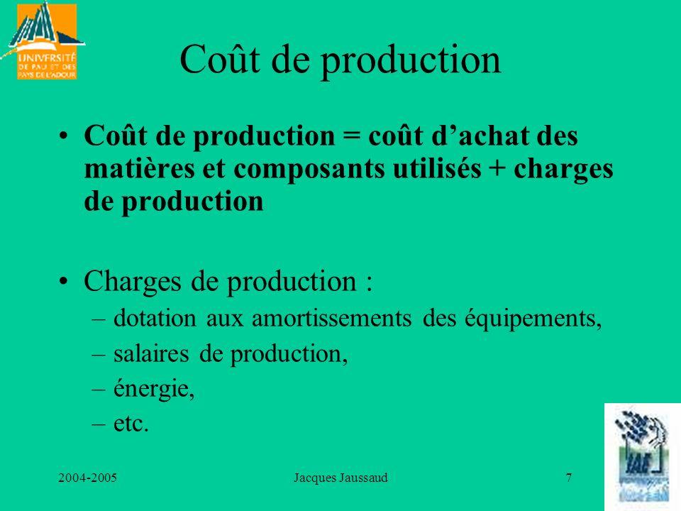2004-2005Jacques Jaussaud7 Coût de production Coût de production = coût dachat des matières et composants utilisés + charges de production Charges de