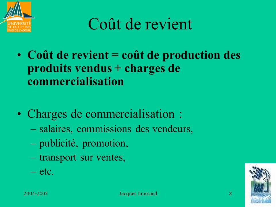 2004-2005Jacques Jaussaud9 On distingue également coûts fixes et coûts variables Les coûts fixes sont ceux qui, pour une capacité de production donnée, sont dun montant global constant quelle que soit la quantité produite ; ils sont donc, pour une capacité de production donnée, indépendants de la quantité produite.