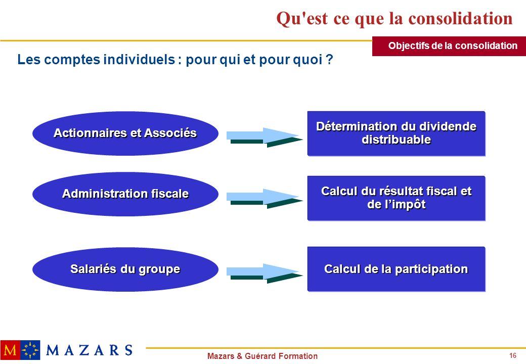 16 Mazars & Guérard Formation Qu'est ce que la consolidation Actionnaires et Associés Administration fiscale Salariés du groupe Détermination du divid