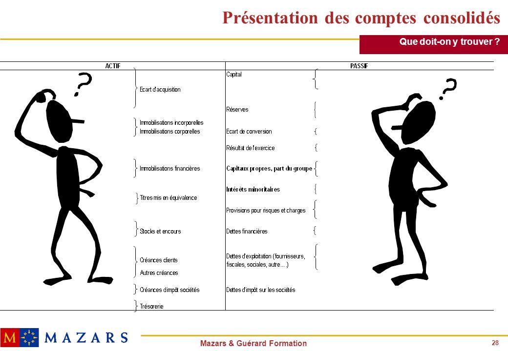 28 Mazars & Guérard Formation Présentation des comptes consolidés Que doit-on y trouver ?