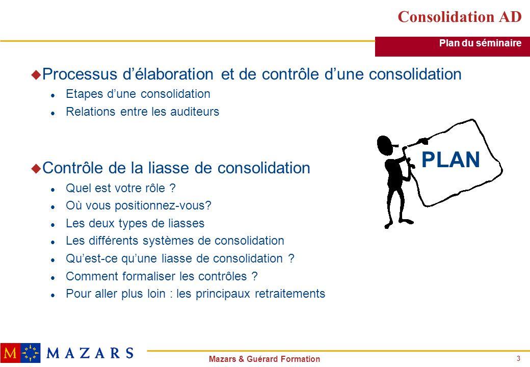 3 Mazars & Guérard Formation Consolidation AD u Processus délaboration et de contrôle dune consolidation l Etapes dune consolidation l Relations entre