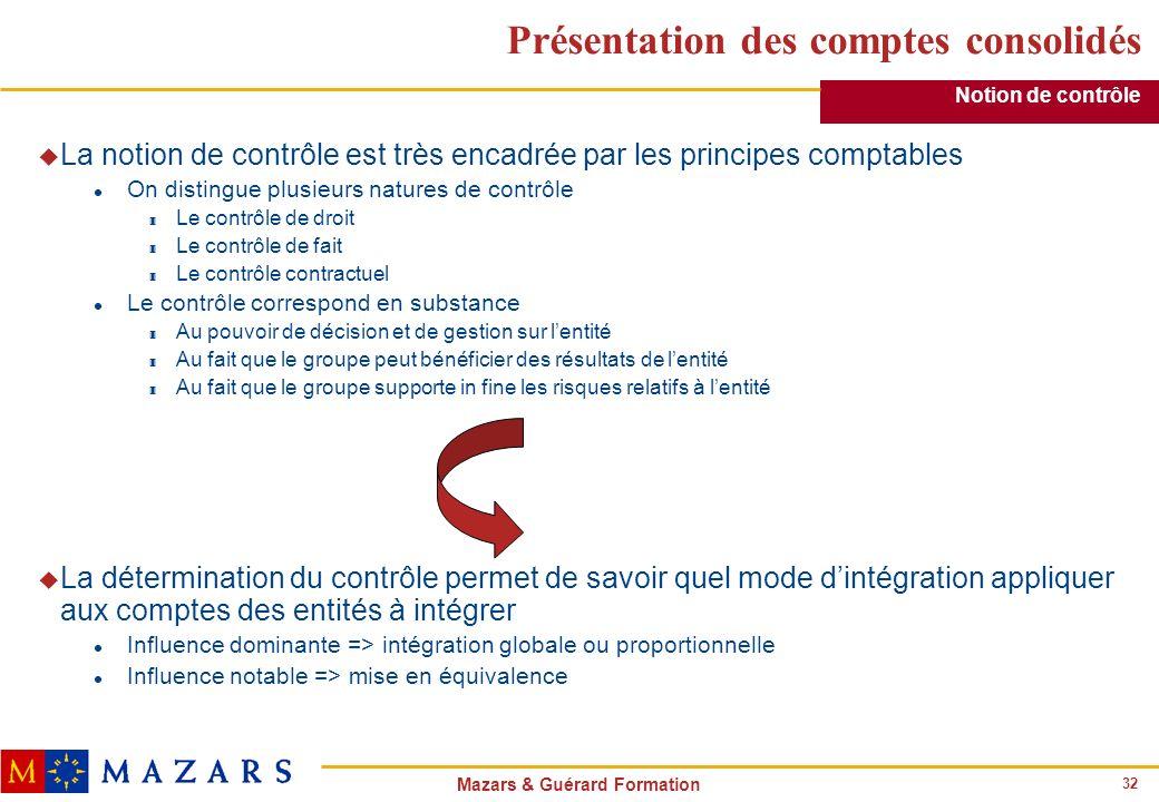32 Mazars & Guérard Formation Présentation des comptes consolidés u La notion de contrôle est très encadrée par les principes comptables l On distingu