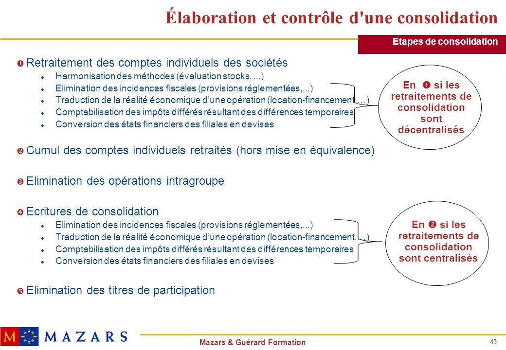 43 Mazars & Guérard Formation Élaboration et contrôle d'une consolidation Œ Retraitement des comptes individuels des sociétés l Harmonisation des méth
