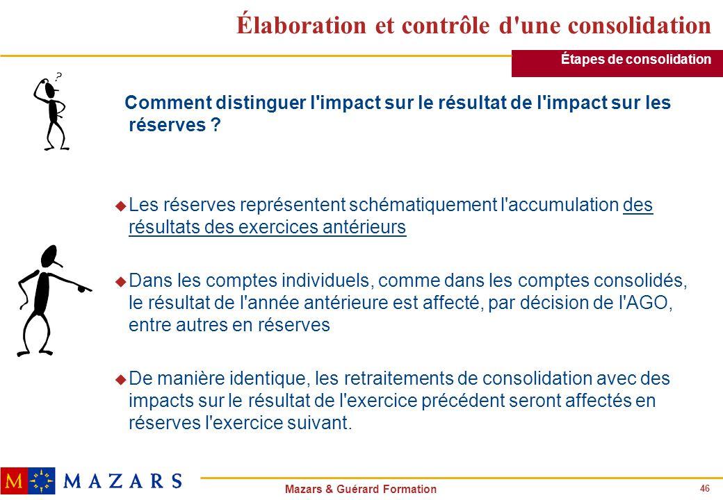 46 Mazars & Guérard Formation Élaboration et contrôle d'une consolidation Comment distinguer l'impact sur le résultat de l'impact sur les réserves ? u