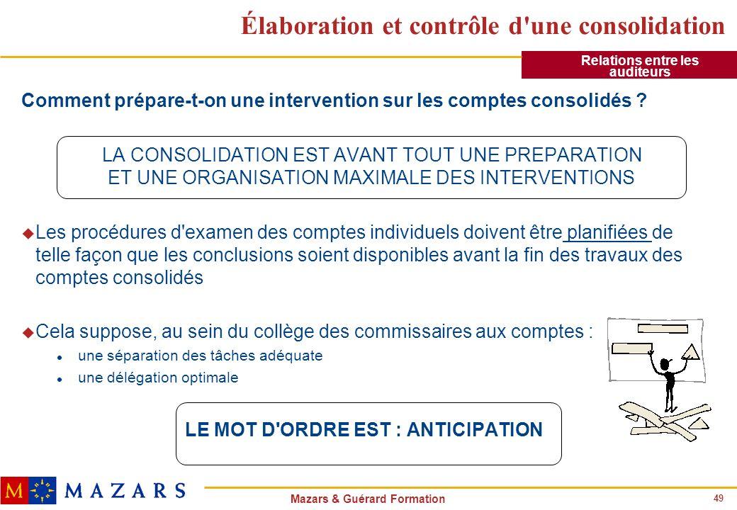 49 Mazars & Guérard Formation Élaboration et contrôle d'une consolidation Comment prépare-t-on une intervention sur les comptes consolidés ? LA CONSOL