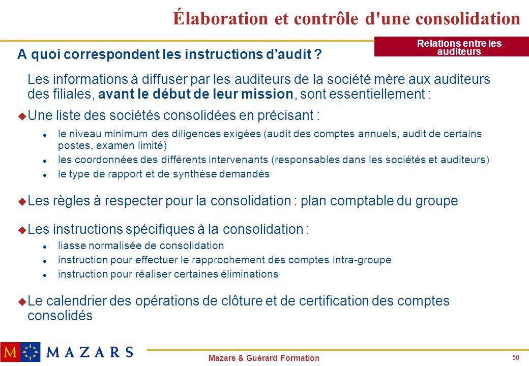50 Mazars & Guérard Formation Élaboration et contrôle d'une consolidation A quoi correspondent les instructions d'audit ? Les informations à diffuser