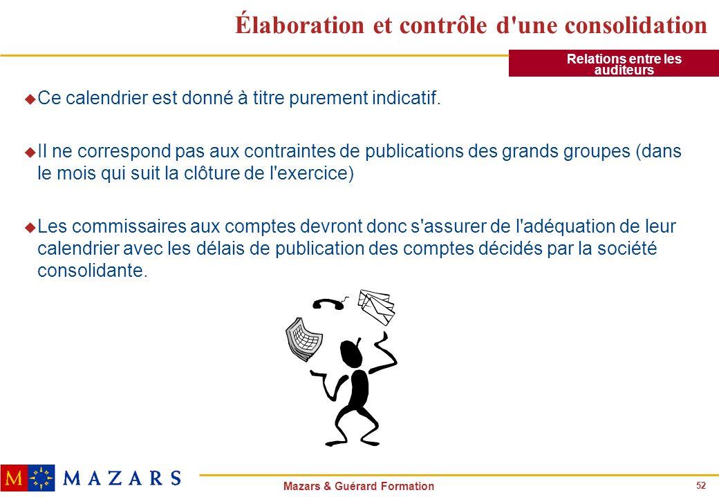 52 Mazars & Guérard Formation Élaboration et contrôle d'une consolidation u Ce calendrier est donné à titre purement indicatif. u Il ne correspond pas