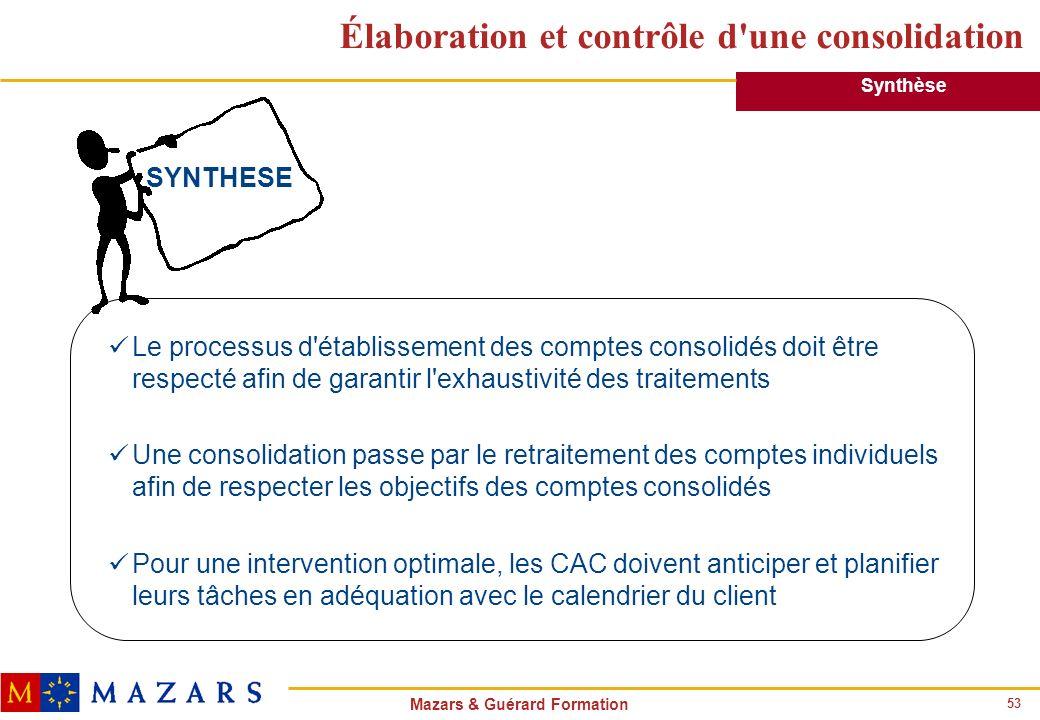 53 Mazars & Guérard Formation Élaboration et contrôle d'une consolidation Le processus d'établissement des comptes consolidés doit être respecté afin