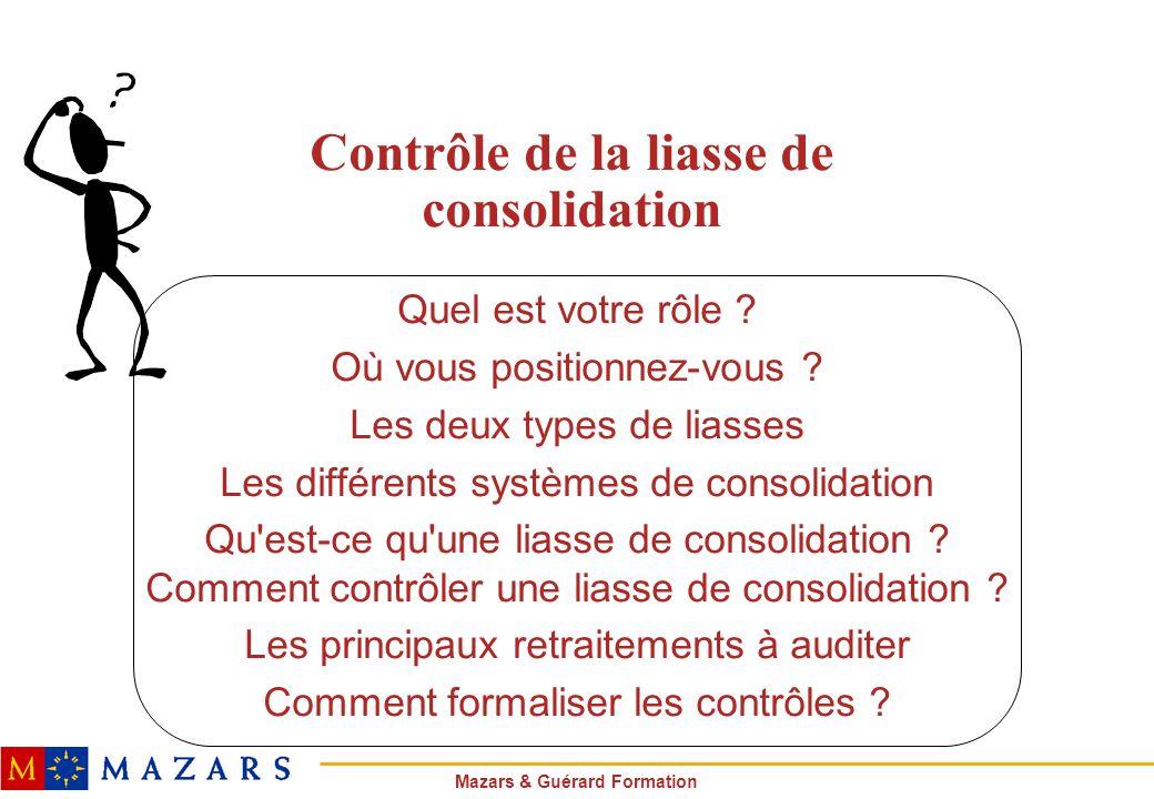 Mazars & Guérard Formation Contrôle de la liasse de consolidation Quel est votre rôle ? Où vous positionnez-vous ? Les deux types de liasses Les diffé