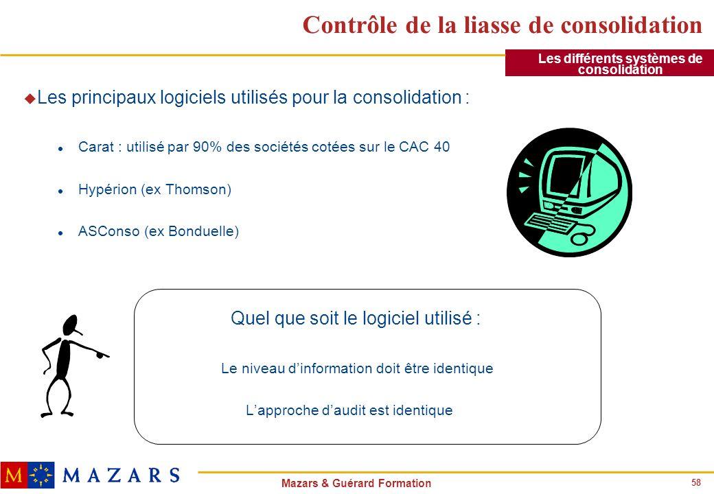 58 Mazars & Guérard Formation Contrôle de la liasse de consolidation u Les principaux logiciels utilisés pour la consolidation : l Carat : utilisé par