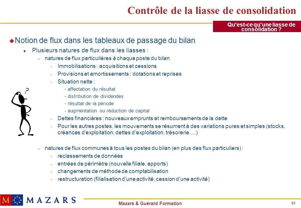 61 Mazars & Guérard Formation Contrôle de la liasse de consolidation u Notion de flux dans les tableaux de passage du bilan l Plusieurs natures de flu