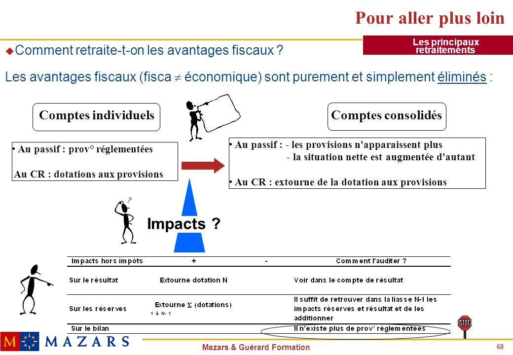 68 Mazars & Guérard Formation Pour aller plus loin u Comment retraite-t-on les avantages fiscaux ? Les avantages fiscaux (fisca économique) sont purem