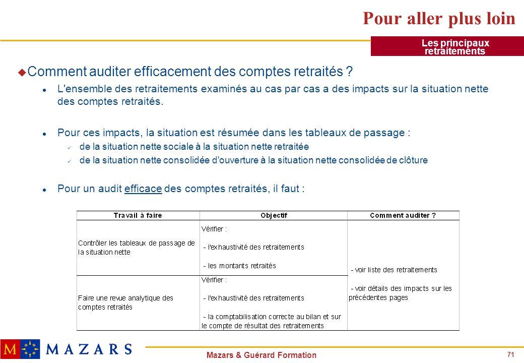 71 Mazars & Guérard Formation Pour aller plus loin u Comment auditer efficacement des comptes retraités ? l L'ensemble des retraitements examinés au c