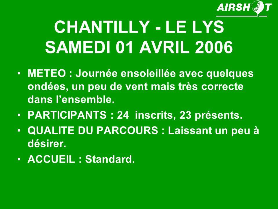 CHANTILLY - LE LYS SAMEDI 01 AVRIL 2006 METEO : Journée ensoleillée avec quelques ondées, un peu de vent mais très correcte dans lensemble.