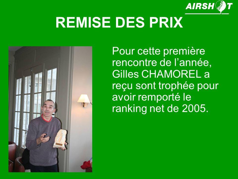 REMISE DES PRIX Pour cette première rencontre de lannée, Gilles CHAMOREL a reçu sont trophée pour avoir remporté le ranking net de 2005.