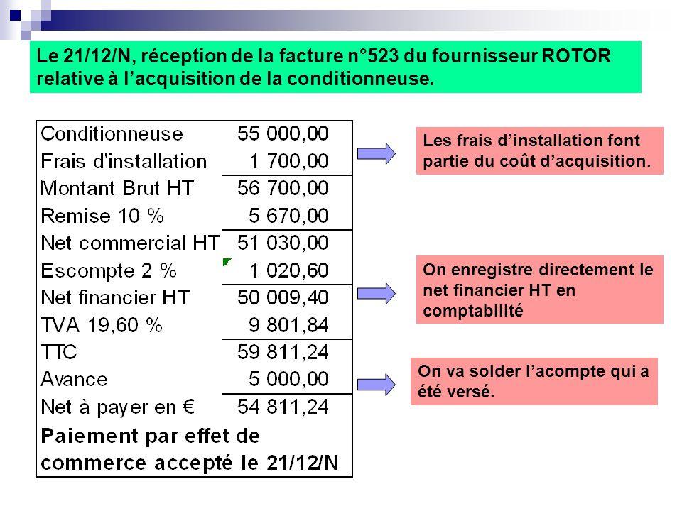Les frais dinstallation font partie du coût dacquisition. Le 21/12/N, réception de la facture n°523 du fournisseur ROTOR relative à lacquisition de la