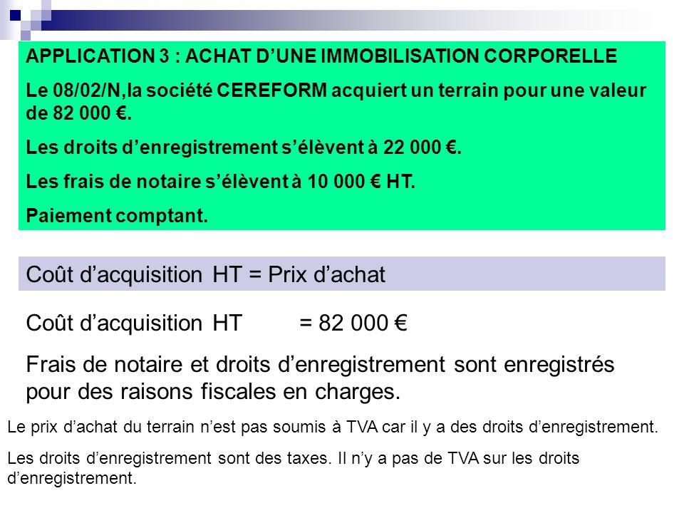 APPLICATION 3 : ACHAT DUNE IMMOBILISATION CORPORELLE Le 08/02/N,la société CEREFORM acquiert un terrain pour une valeur de 82 000. Les droits denregis