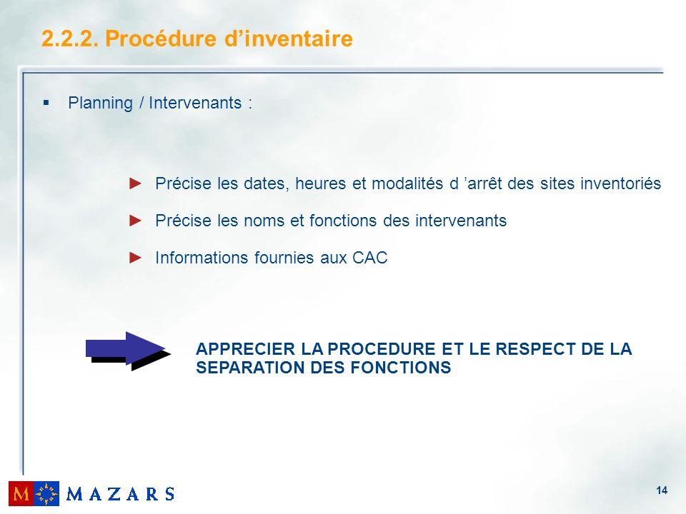 14 Planning / Intervenants : 2.2.2. Procédure dinventaire Précise les dates, heures et modalités d arrêt des sites inventoriés Précise les noms et fon