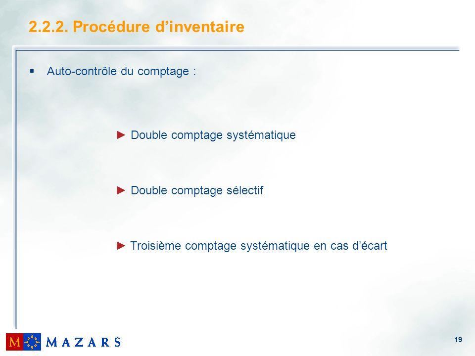 19 Auto-contrôle du comptage : 2.2.2. Procédure dinventaire Double comptage systématique Double comptage sélectif Troisième comptage systématique en c