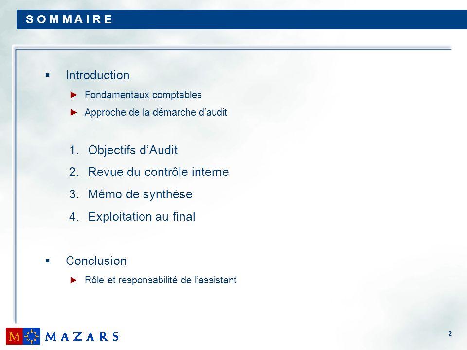 2 S O M M A I R E Introduction Fondamentaux comptables Approche de la démarche daudit 1. Objectifs dAudit 2. Revue du contrôle interne 3. Mémo de synt