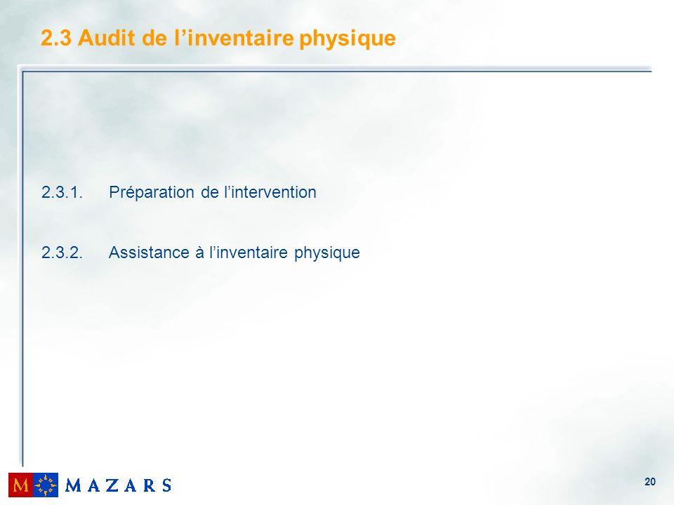 20 2.3.1.Préparation de lintervention 2.3.2.Assistance à linventaire physique 2.3 Audit de linventaire physique