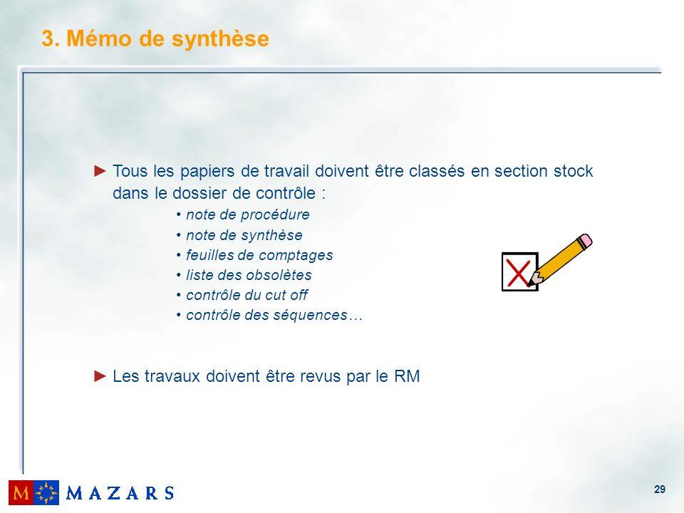 29 Tous les papiers de travail doivent être classés en section stock dans le dossier de contrôle : note de procédure note de synthèse feuilles de comp