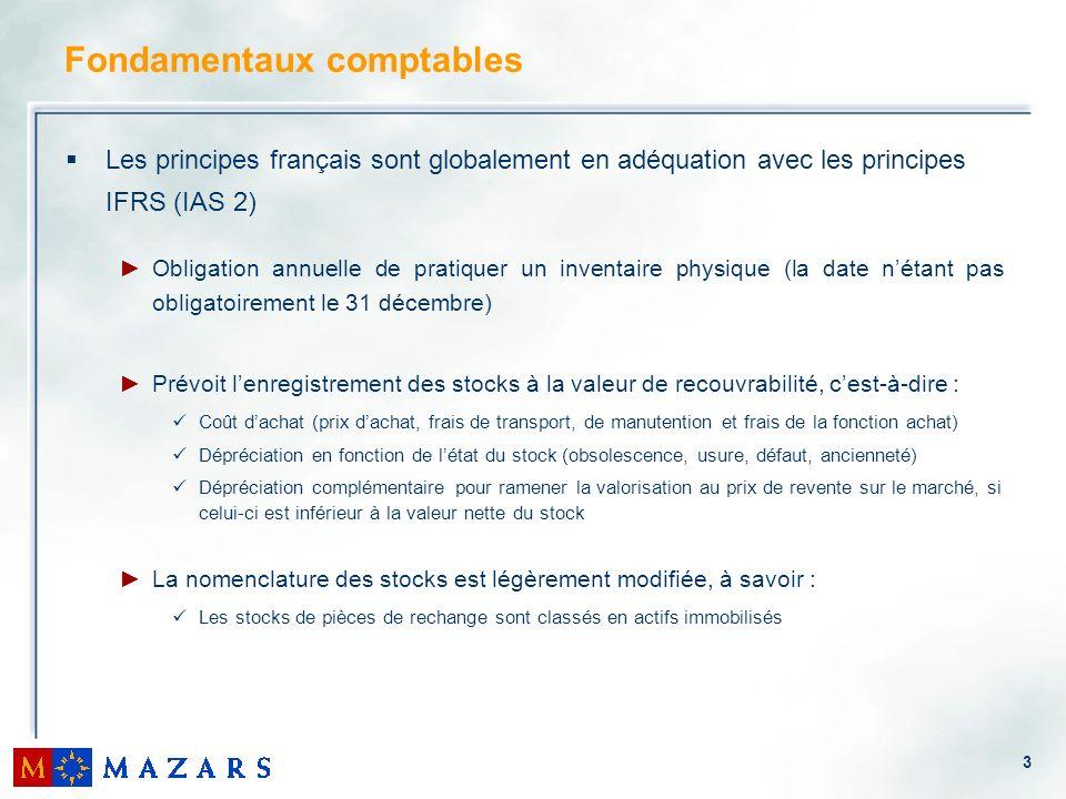 3 Fondamentaux comptables Les principes français sont globalement en adéquation avec les principes IFRS (IAS 2) Obligation annuelle de pratiquer un in