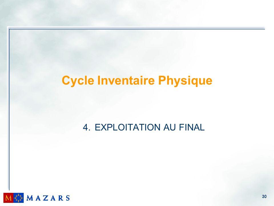30 Cycle Inventaire Physique 4. EXPLOITATION AU FINAL