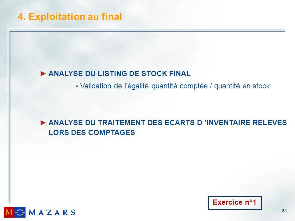 31 4. Exploitation au final ANALYSE DU LISTING DE STOCK FINAL Validation de légalité quantité comptée / quantité en stock ANALYSE DU TRAITEMENT DES EC