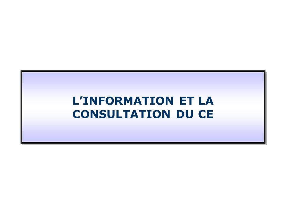 LINFORMATION ET LA CONSULTATION DU CE