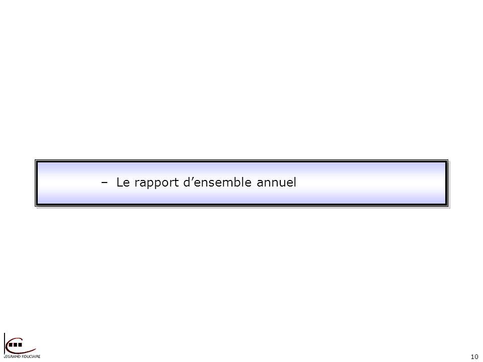 10 –Le rapport densemble annuel