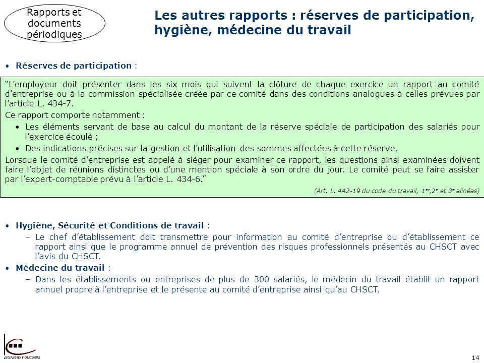 14 Les autres rapports : réserves de participation, hygiène, médecine du travail Lemployeur doit présenter dans les six mois qui suivent la clôture de