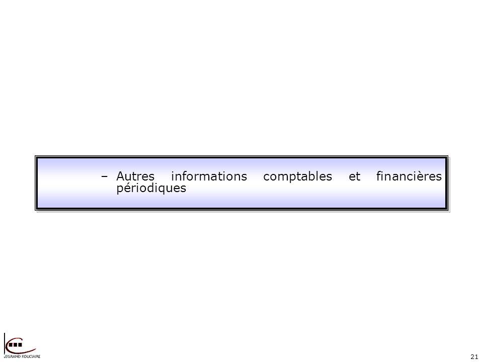 21 –Autres informations comptables et financières périodiques
