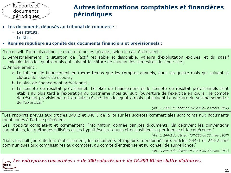 22 Autres informations comptables et financières périodiques Les documents déposés au tribunal de commerce : –Les statuts, –Le Kbis, Remise régulière
