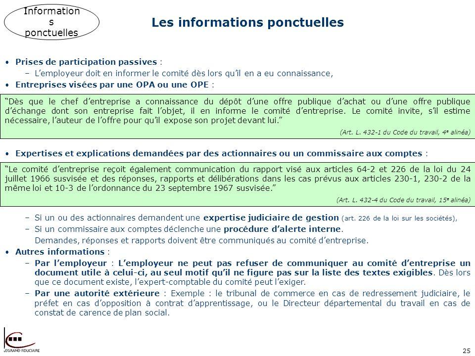 25 Les informations ponctuelles Information s ponctuelles Prises de participation passives : –Lemployeur doit en informer le comité dès lors quil en a