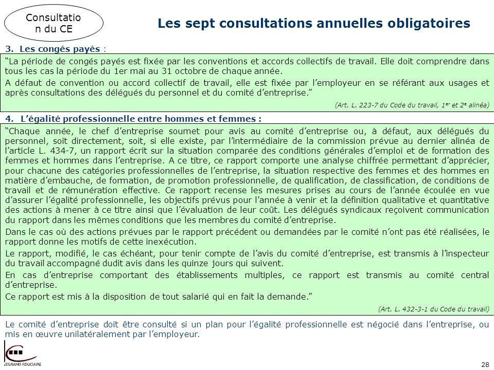 28 Les sept consultations annuelles obligatoires 3.Les congés payés : Consultatio n du CE La période de congés payés est fixée par les conventions et