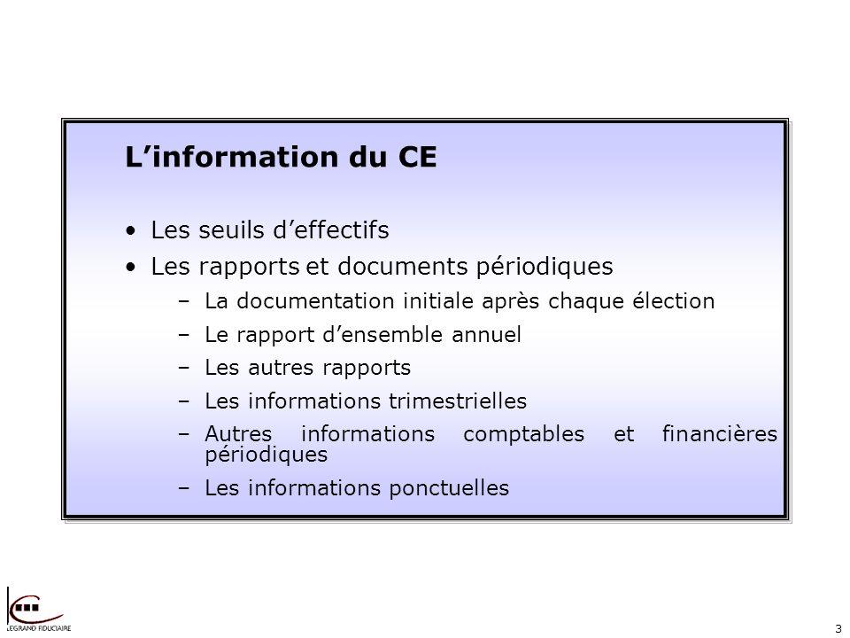 3 Linformation du CE Les seuils deffectifs Les rapports et documents périodiques –La documentation initiale après chaque élection –Le rapport densembl