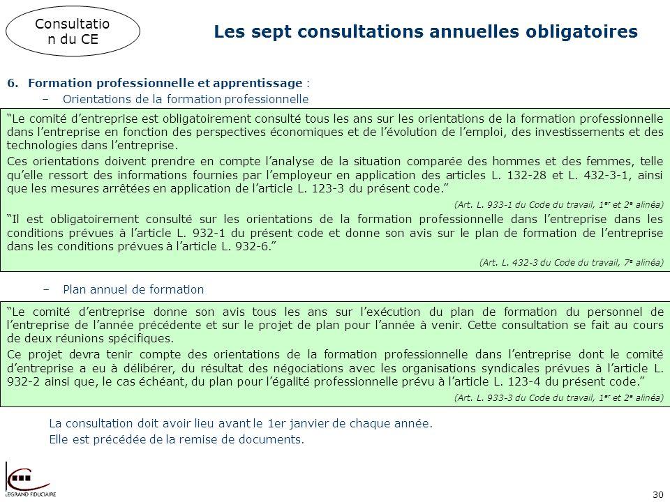 30 Les sept consultations annuelles obligatoires Consultatio n du CE 6.Formation professionnelle et apprentissage : –Orientations de la formation prof